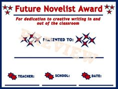Future Novelist Award // Part of Career and Superlative Awards for Students #awards #summer #endofyear #celebration #teacher #certificate #TPT