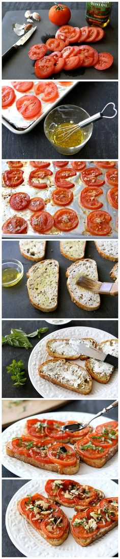 Roasted Tomato and Goat Cheese Sandwiches - I make this every summer from the tomatoes in my garden so good!!!