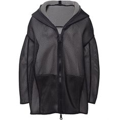 Annette Gortz Manos Mesh Jacket (£336) ❤ liked on Polyvore featuring outerwear, jackets, coats & jackets, black, coat/jacket, black jacket, black zipper jacket, zip jacket, black hooded jacket and black collar jacket