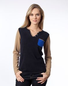 Pullover en cachemire color block