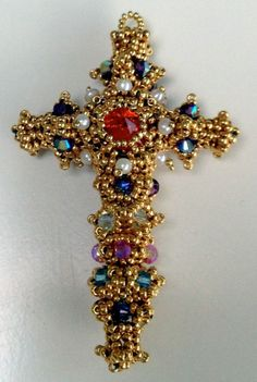 Byzantine-Cross - Reminiscent of the Pala d'Oro in Venice, the first Byzantine Cross I made using gold-coated seed beads, encrusted with seed pearls and crystals. Cross Crafts, Bead Crafts, Jewelry Crafts, Jewelry Art, Beaded Jewelry, Beaded Bracelets, Jewellery, Beading Projects, Beading Tutorials