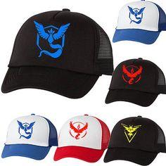975db80648c Pokemon Go Team Instinct Team Valor Team Mystic Mesh Hat game fun Cap  Cosplay