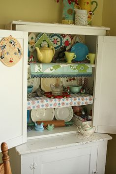 Kitschy Beachy Cottage Cubbard ..Thrifty Tuesdays
