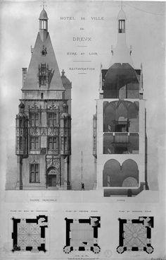 Hôtel de ville (ancien), dit le Beffroi de Dreux    Mieusement Médéric (1840-1905) Photographe français