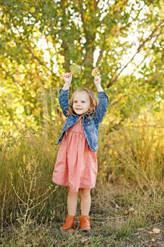 Fall Family Photo Session - Autumn - Billings - Norm's Island - Trees - Grass - Daughter - Girl - Kid - Jean Jacket - Pink Dress - Brown Boots - Leaves - Montana Family Photographer - Sara Nagel Photography Fall Family Photos, Seasons Of The Year, Family Photo Sessions, Brown Boots, Family Photographer, Pink Dress, Montana, Grass, Daughter