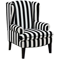 Universal Lighting and Decor Paris Black and White Velvet Wingback... (790 CAD) ❤ liked on Polyvore featuring home, furniture, chairs, accent chairs, decor, interior, seating, black, black accent chairs and black and white striped accent chair