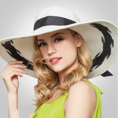 Summer wide brim straw hat for women UV package