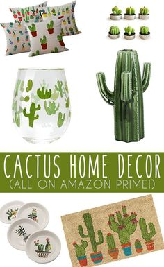 Cactus home decor from bedroom, living room, kitchen & more. Affordable & stylish cactus home decor all on amazon prime!! Decorate your indoors with a little help from the cactus! #AllThingsKitchen
