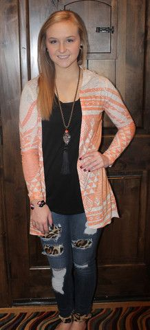 Coral/ Peach Aztec/Tribal Cardigan with hood-light weight