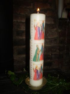 Danish Designed Advent Pillar Calendar Candle,Three Kings,Christmas plus candle stand - The Garden Room