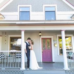 """""""A wedding is a very intimate moment in a couple's life and I wanted to share that with close friends and family. Our home just seemed like the most fitting place to do that."""" We  this DIY-filled front-porch wedding -- our #50weddings50states winner from Idaho!  #theknot #theknotidaho  via @letitshinephoto via @angela4design"""