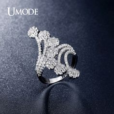 Fashion Jewelry AAA+ Cubic Zirconia Rings For Women Party Trendy Cocktail Ring Anillos Mujer Anel AUR0296