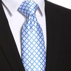This white blue checkered extra long tie would be perfect for any formal or casual occasion. It would make a perfect gift and an excellent collection to men's wardrobe. Extra Long Ties, Men's Wardrobe, Tall Guys, Blue