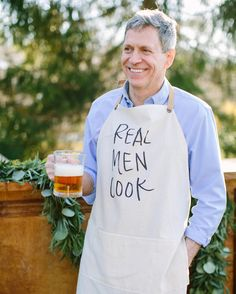 Handmade Real Men Cook men's apron- gifts for cooks- gifts for him- gifts for dad- available at parrischic.com    photo by @jessalovelight