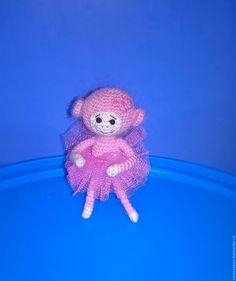 Купить Обезьянка вязаная - балерина, символ 2016 года. - розовый, обезьяна, обезьянка, обезьянка игрушка