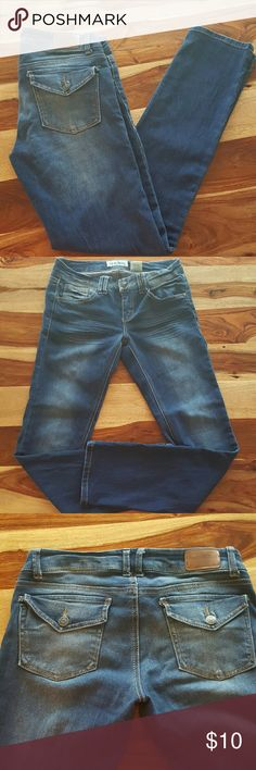 "Paris Blues Distressed Skinny Jeans 58% cotton 41% polyester and 1%spandex Measurements are: Waist 14.5"" Hips: 17"" Inseam: 30"" Leg opening: 5.5"" Paris Blues Jeans Skinny"