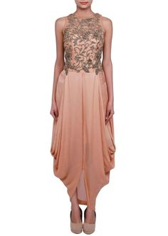 Panisha's  Sand Pink Gown Adorn In Zardosi And Cowl Drape  Indian Pakistani D...
