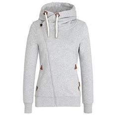 Chic Hooded Long Sleeve Pure Color Hoodie For Women