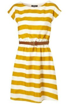 Mustard stripe t-shirt dress. Very pretty but in another fabric for me---not horizontal stripes on this too-broad lady, my friends!! :)