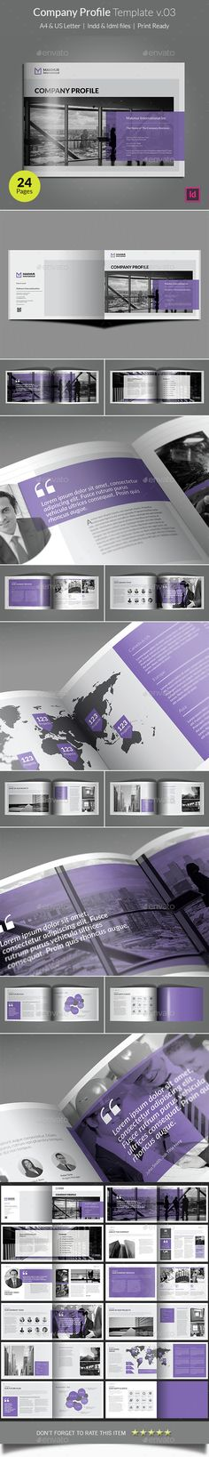 24 Pages Company Profile Brochure Template InDesign INDD. Download here: http://graphicriver.net/item/company-profile-template-v03/15311346?ref=ksioks