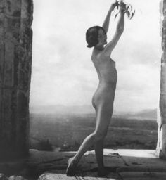 """Nelly's (Elli Sougioultzoglou-Seraïdari) :: Famous dancer of Opera Comique Mona Paeva dancing naked at the Acropolis holding only a small olive strand, Athens, Greece, From the exhibition """"Dance."""