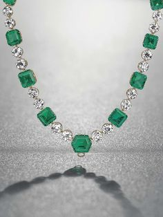 A magnificent emerald and diamond necklace, by Cartier, 1937, from the Patiño collection (estimate SFr. 6.6-9.4 million). Image credit Denis...