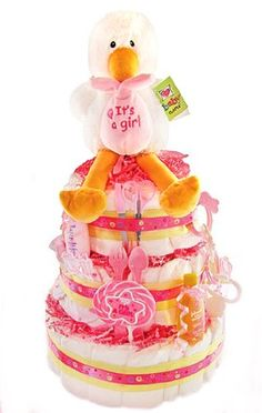 $111.98-$161.00 Baby Special Delivery New Baby Diaper Cake for Girls - Shower Centerpiece or Gift Idea - The stork has brought something very special for the new parents. An adorable diaper cake to celebrate the arrival of the new baby girl. Topped with an adorable stork plush, this diaper cake includes baby essentials that the new parents can surely use and enjoy. http://www.amazon.com/dp/B005QSYCH8/?tag=pin2baby-20