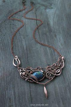 Labradorite necklace Labradorite pendant Wire by LenaSinelnikArt
