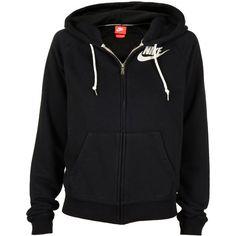 Nike Wmns Rally Zip Hoodie Schwarz ($67) ❤ liked on Polyvore featuring tops, hoodies, jackets, outerwear, sweaters, athletic, zip hooded sweatshirt, zip hoodies, zipper hoodie and zip up hoodie
