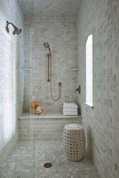Locust Hills Drive residence, Minneapolis. Martha O'Hara Interiors. Bevel-edged tile marble tile