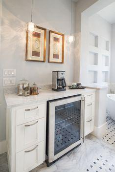 Mini fridge / coffee station in en-suite. #LuxuryFridges