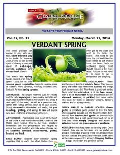 Spring's seasonal green vegetables begin to replace some of winter's more common fare. Read more about spring greens in this week's Market Report:  www.generalproduce.com/reports/market.pdf