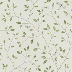 Tredje stora bilden av tapetern Felix Grön Green Wallpaper, Kitchen Wallpaper, Pattern Wallpaper, Wallpaper Direct, Green Kitchen, White Rooms, Decoration, Room Decor, Interior Design