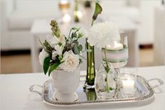 silver-coloured trays - lovely for creating pretty arrangements upon