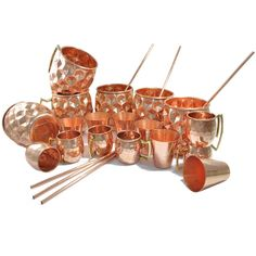 Amazon.com | DakshCraft ® Moscow Mule Mugs for Cold Beverages (Capacity 15.21 oz) with FREE Copper Shot Mug (Capacity - 2 oz pr shot mug), Wine Copper Shot Glass (Capacity - 2 oz pr glass) & Copper Straw, Set of 6: Glassware & Drinkware