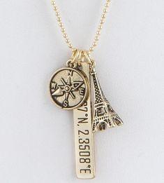 Celebrity Trend 14K Gold Silver Paris France Eiffel Tower Compass Geo Coordinate Necklace Pendant