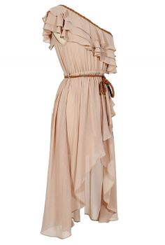 Enchanted Forest One Shoulder Chiffon Dress in Beige - Lily Boutique Beige Prom Dresses, High Low Prom Dresses, Prom Dresses With Sleeves, Pretty Dresses, Short Sleeve Dresses, Prom Gowns, Long Sleeve, Ball Gowns, Greek Inspired Fashion