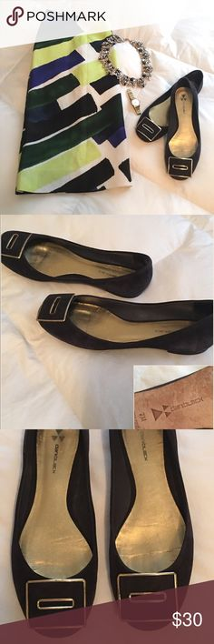 Daniblack Navy Suede Flats Daniblack Flats for the trendsetting woman. They have  a stylish, modern look with a gold trimmed buckle in navy suede, barely worn. EUC!! Suede is in excellent condition; smooth and uniform.m; no scuff marks. Soles reflect some wearing.  Size 7M. Daniblack Shoes