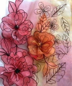 Kathleen's Organza Extrav-Organza: Organza flowers in easy free motion stitching