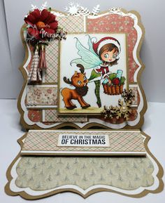 Cheerful Sketches Challenge Blog: Alicia Bel, Shaped Card, Christmas, Copic, Deer, Elve