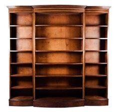 Georgian Style Mahogany Triple Bow Front Bookcase - English Classics