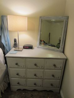 Painted mirror and dresser.  The room is almost finished!
