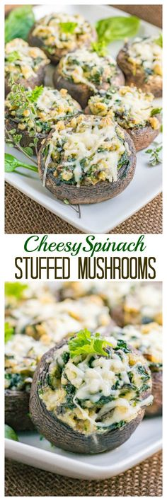 Cheesy Spinach Stuffed Mushrooms. The perfect appetizer! Cheesy, nutty, and delicious.