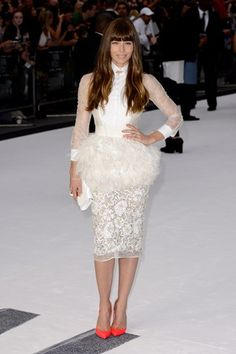 Jessica Biel wore a Giambattista Valli Couture Spring/Summer 2013 white dress and Christian Louboutin pink heels