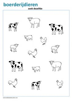 Match the farm animals. Preschool and Kindergarten worksheet. Animal Worksheets, Animal Activities, Kindergarten Worksheets, Writing Activities, Preschool Activities, Farm Animals For Kids, Zoo Animals, Animal Puzzle, Pre Writing