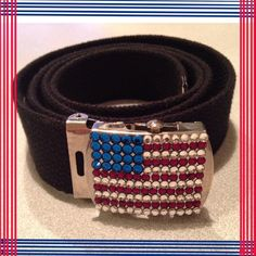 Flag Belt  Reduction Black belt with beaded flag buckle. Great condition. 40 inches long adjustable . Buckle has a tightening closure so it is very adjustable instead of notches in belt.  Boutique Accessories Belts