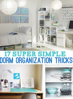 17 Super Simple Dorm Organization Tricks -   Not that I'm in a dorm but some good ideas.