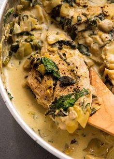 Easy Chicken Recipes, Turkey Recipes, Easy Dinner Recipes, Spinach Artichoke Chicken, Spinach Stuffed Chicken, Artichoke Sauce, Whole Roasted Chicken, Chicken Life, Creamy Spinach