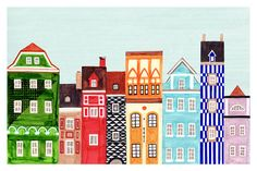Colorful Art Skyline Print of Polish Town Buildings of Old Market Square in Poznan. Poland, Stripes, Geometric Patterns