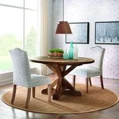 Home Decorators Collection Cane 54 in. L Round Wood Dining Table in Bark-9415600860 - The Home Depot